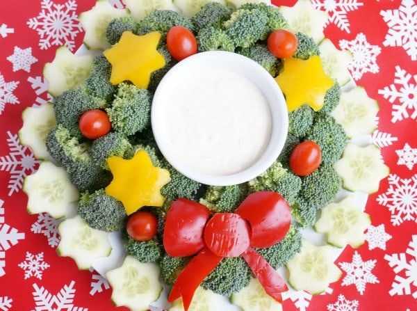 Welcome guests with our kid made christmas wreath vegetable tray