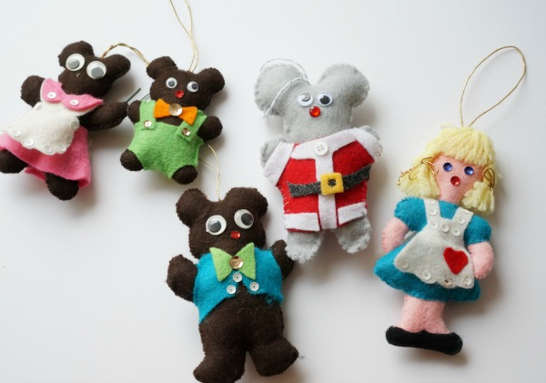 felt mouse ornaments with storybook ornaments