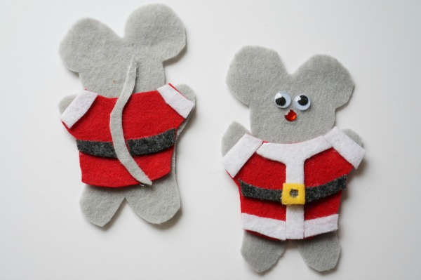 felt mouse ornament with fabric glue