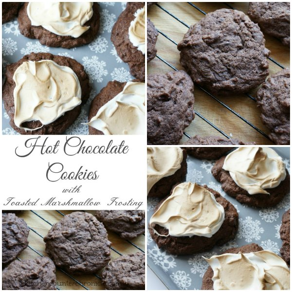 hot chocolate cookie with marshmallow frosting