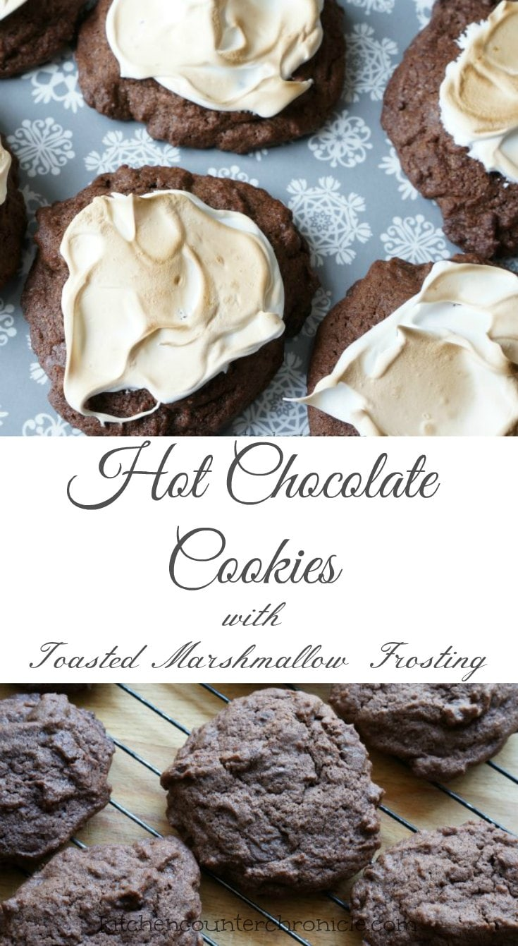 hot chocolate cookies with toasted marshmallow frosting