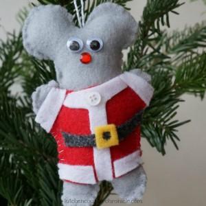 Santa Mouse Felt Mouse Ornament