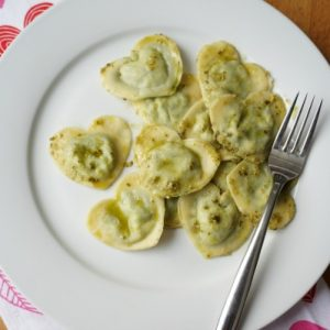 heart shaped ravioli with pesto
