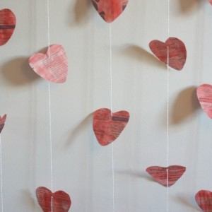 newspaper valentine heart garland hanging