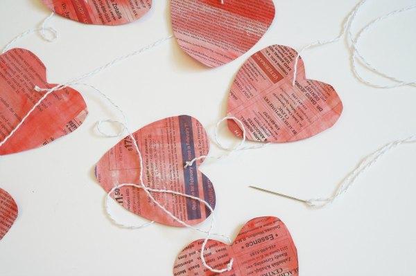 newspaper heart garland hanging hearts
