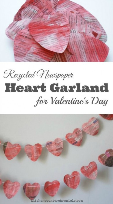 Recycled Newspaper Heart Garland for Valentine's Day