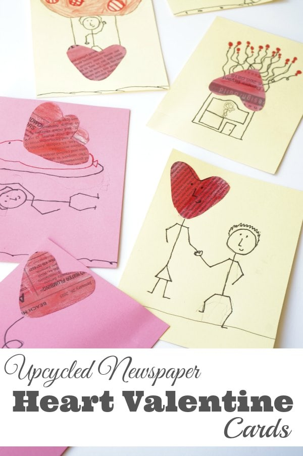 upcycled heart valentine card