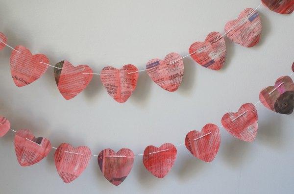 valentine newspaper heart garland