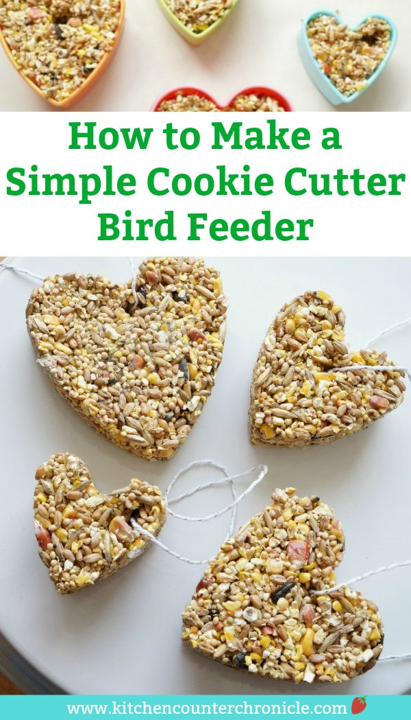Feed the birds! A super simple step-by-step instructions for making a cookie cutter bird feeder. Fun activity for the kids at any time of the year. #kidactivity #birdfeeder #diybirdfeeder #birdseed #cookiecuttercraft #outdoorplaykids #birds #kidsactivities