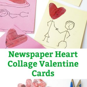 Newspaper Hearth Collage Valentine's Day Card pin