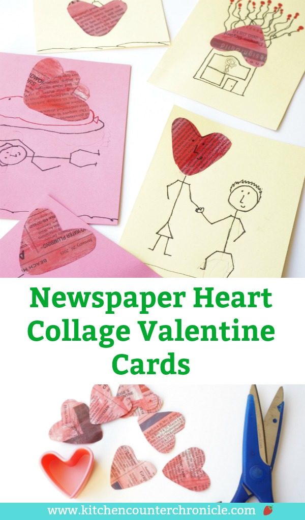 With a pile of newspaper hearts, the kids can make these lovely newspaper collage heart Valentine's Cards. Fun imaginative art project. #artforkids #valentinecrafts #valentinesforkids #kidscrafts #valentinescard #recyledcrafts #newspapercrafts #heartcraft