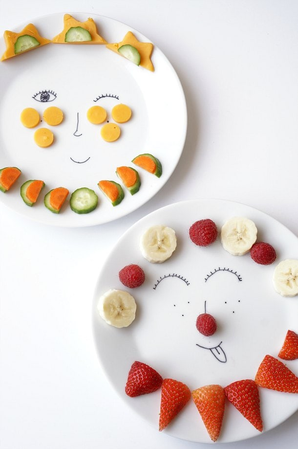 "It's time to make eating vegetables a whole lot more fun with these DIY Sharpie Funny Face plates. Kids will love ""playing with their food!"" 