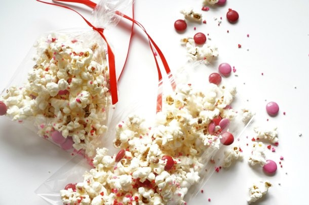 Valentine's Day party popcorn in bags