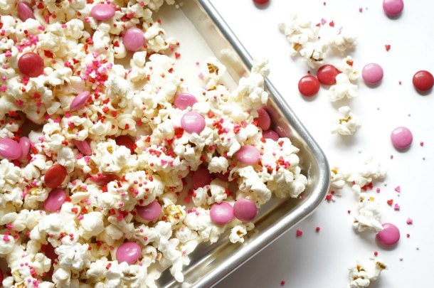 Valentine's Day party popcorn in baking sheet