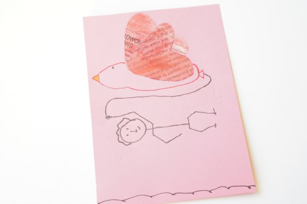 newspaper heart valentine card bird