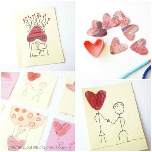 newspaper heart valentine collage