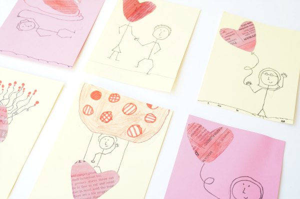 newspaper heart valentine cards