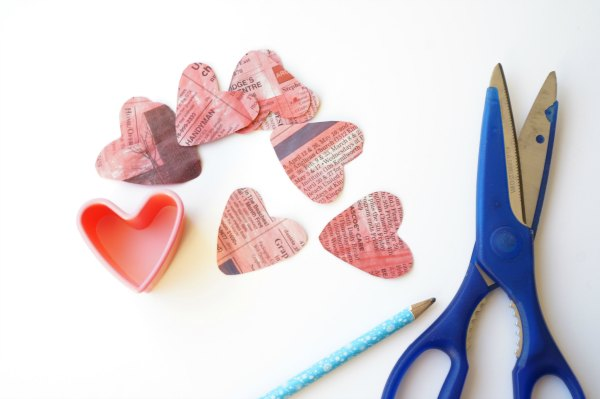 newspaper valentine hearts