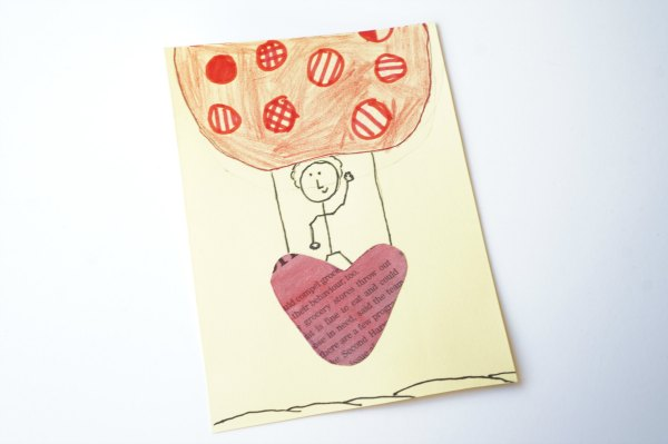 newspaper valentine heart card hot air balloon