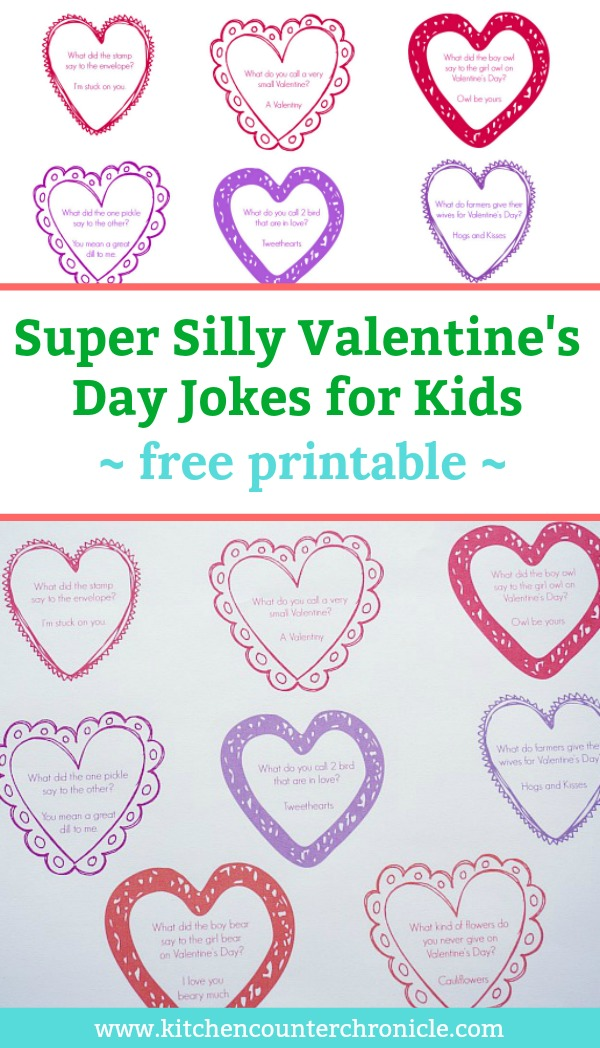 Silly Valentine's Day Jokes for Kids - Print off these silly jokes and pop them in your kid's lunch box in february or the kids can give them as funny Valentine's. #Valentinecraftforkids #jokesforkids #freeprintable #valentinesdayforkids