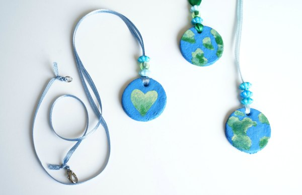 Earth Day Necklace Craft painted