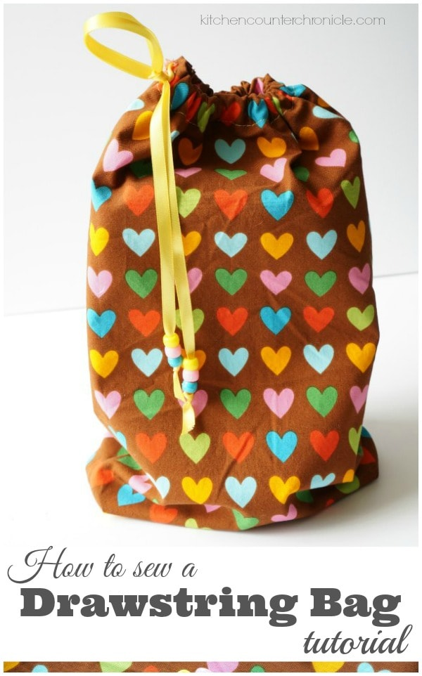 How to Sew a Drawstring Bag Tutorial