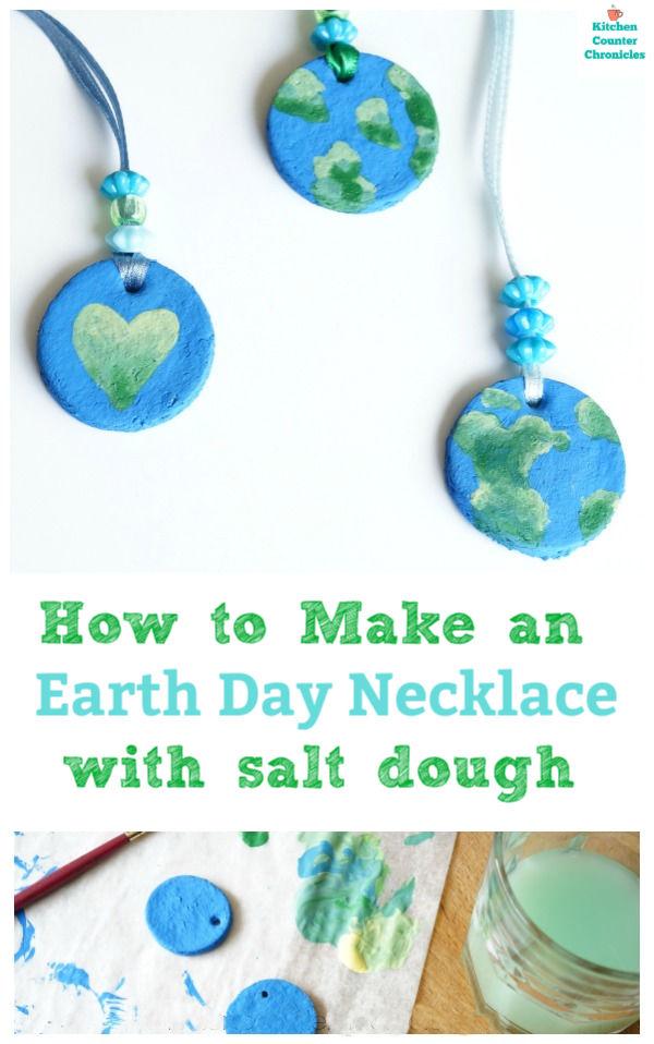 earth day necklace salt dough