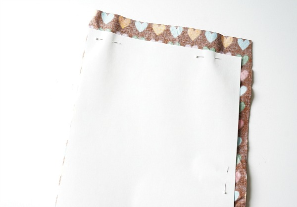 drawstring bag pattern pinned