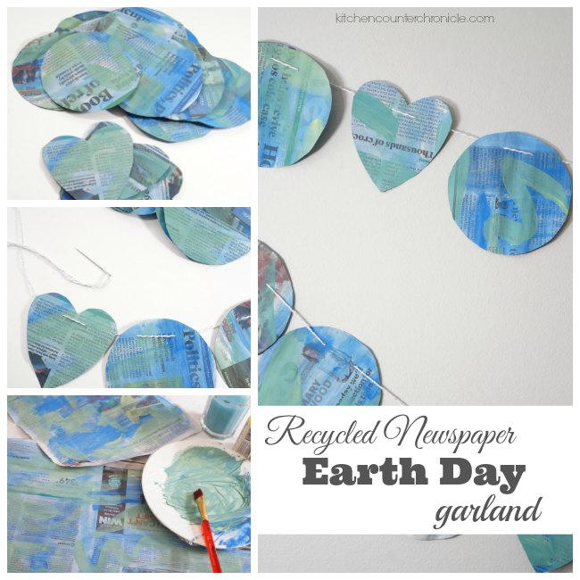 Recycled Newspaper Earth Day Garland fb