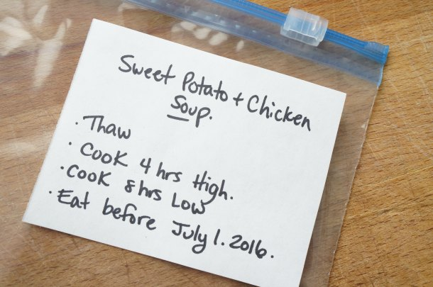 Sweet Potato and Chicken Soup Label