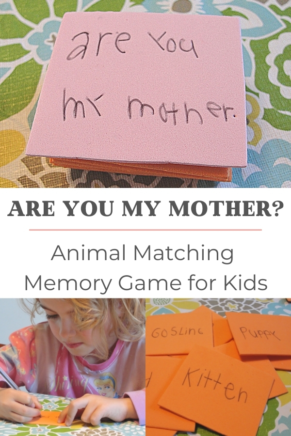 Are You My Mother Animal Memory Game for Kids title with pile of memory cards
