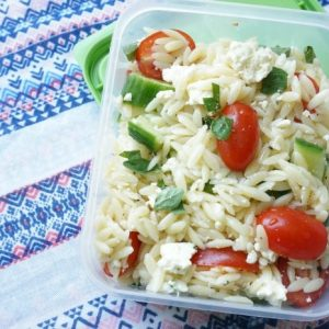 Greek Pasta Salad in resealable container