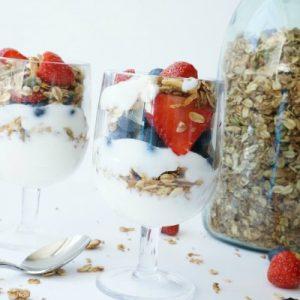 homemade granola and yogurt parfait