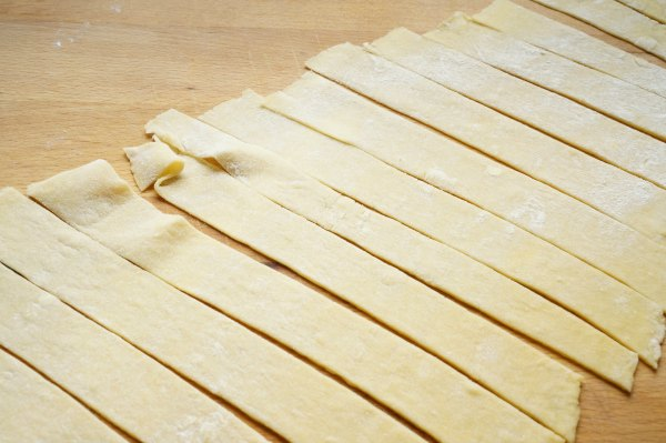 Homemade pappardelle sliced