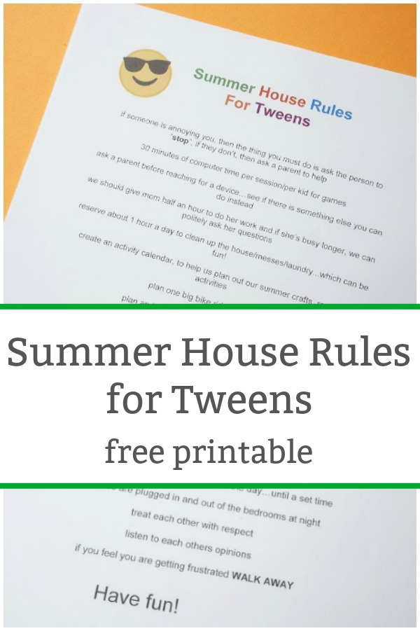 summer house rules for tweens