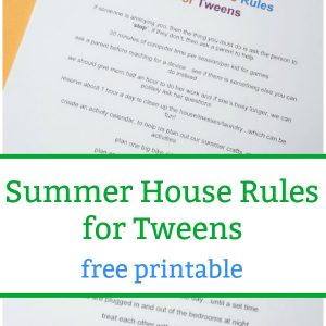 summer house rules for tweens pin