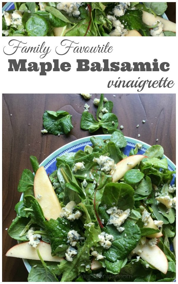 Family Favourite Maple Balsamic Vinaigrette - Stuck in a salad rut? Get out of it with this family favourite maple balsamic vinaigrette. The perfect vinaigrette for this salad that is made with crisp seasonal greens, apple slices and sharp blue cheese. Ban boring salads! | Salad Recipe | Family Friendly Recipe | Seasonal Recipe | Vegetarian Recipe |