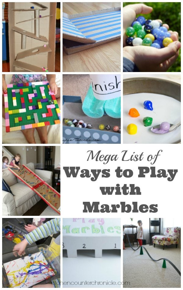 MEGA List of Ways to Play with Marbles - Take a simple bag of marbles and build, create, learn and play. Fun activities and art projects for kids of all ages | Kid Activities | Simple Play Ideas for Kids |