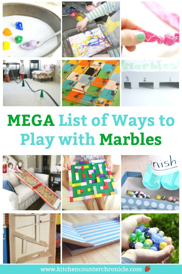 We've gathered together a MEGA list of ways to play with marbles for kids. Get creative, build, paint and play with a simple bag of marbles. #marbles #marblegames #oldschoolgamesforkids #oldschoolgames #summergames #marblerun #marblecrafts #playwithmarbles #marblegamesforkids #marblevintage #marblemaze #marblefun #familygamenight #gamestoplaywithkids #