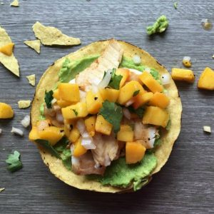 fish tostada with peach salsa