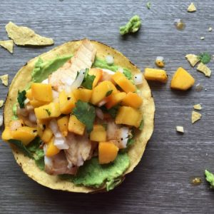 Fish Tostadas with Peach Salsa