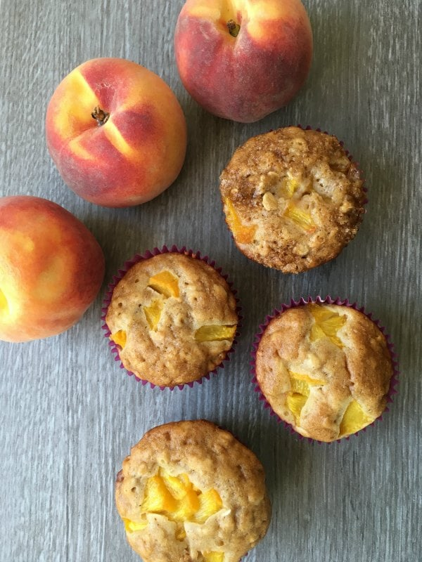 Honey and Oat Peach Muffins