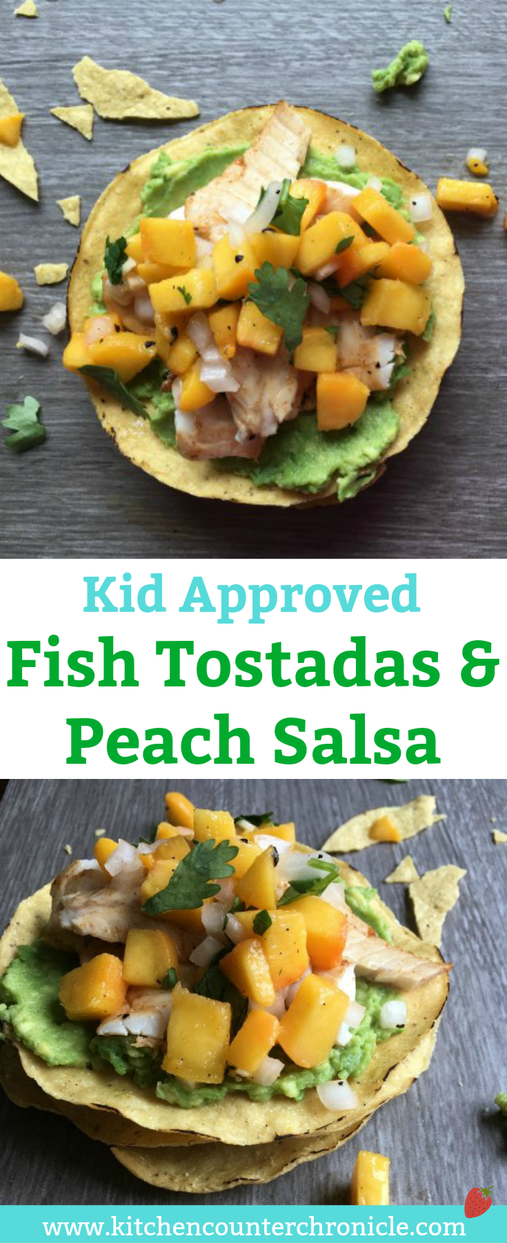 Fish Tostadas and Peach Salsa - A deliciously simple way to get the kids to eat fish! White fish and peach salsa make these taco/tostadas a hit with families. | Taco Recipes | Peach Salsa Recipe | Family Dinner Recipes | Seafood Recipes |
