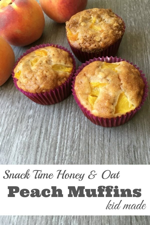 Snack Time Honey and Oat Peach Muffins - A delicious option for the kids lunch box. Let the kids help make these sweet, peachy muffins. | Muffin Recipe | Kid Made Recipe | Peach Recipe |