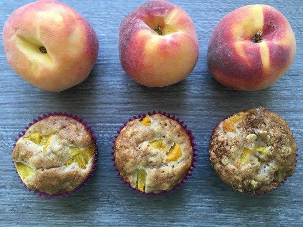 oat and honey peach muffins