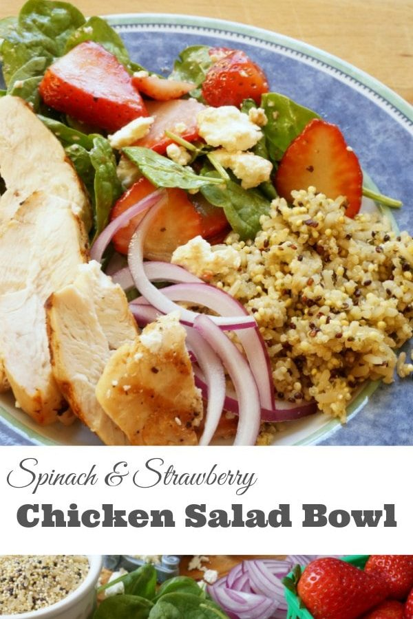 Spinach and Strawberry Chicken Salad Bowl