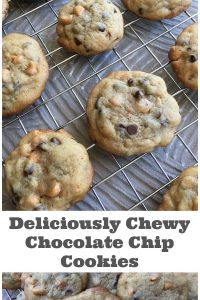 Deliciously Chewy Chocolate Chip Cookies - What's the secret to chewy chocolate chip cookies? Check out this recipe to find out. Bake up a batch and try not to eat the entire batch in one sitting...seriously. | Chocolate Chip Cookie Recipe | Cookie Recipe | Chocolate Recipe |