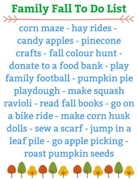 family fall to do list of activities