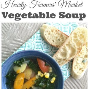 Hearty Farmers' Market Vegetable Soup - Pick up the vegetables at your local market and pull together a hearty vegetable soup that your entire family will love   Vegetable Soup Recipe   Family Friendly Recipe   Soup Recipe  