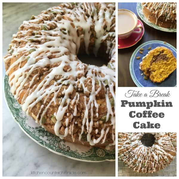 Pumpkin Coffee Cake with glaze - A delicious recipe for pumpkin coffee cake. Topped with a pumpkin spiced streusel and vanilla glaze. A delightful fall recipe. | Fall Recipe | Pumpkin Spice Recipe | Pumpkin Recipe | Coffee Cake Recipe |